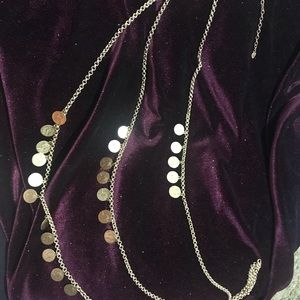 Fashion Jewelry Jewelry - Triple Brush Gold Coin Necklace